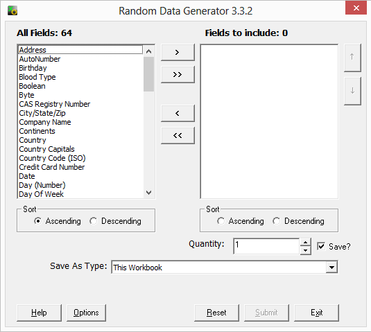 Random Data Generator screenshot